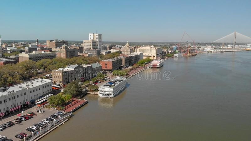 SAVANNAH, GA - APRIL 3, 2018: Aerial city skyline from the river royalty free stock image