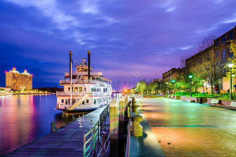 Savannah Geogia Riverfrontpromenad arkivfoto