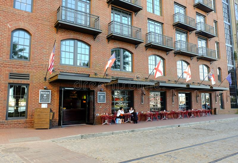 Savannah, Georgia bars and restaurants on River Street. stock images
