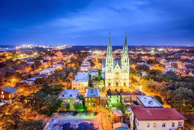 Savannah Georgia Cityscape royaltyfria foton
