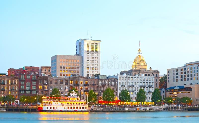 Savannah Georgia de V.S., horizon van historische van de binnenstad stock afbeelding