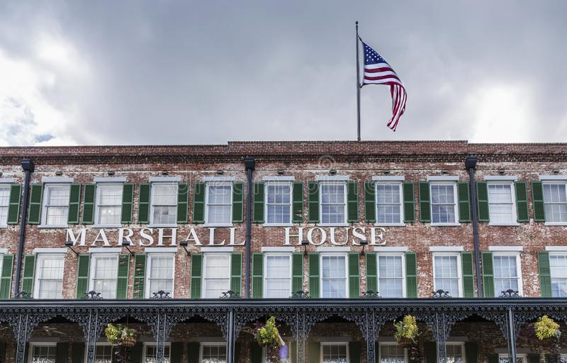 Marhsall House. SAVANNAH, GEORGIA - October 12, 2015: Savannah is the oldest city in Georgia. From the historic architecture and parks to the beaches of Tybee royalty free stock images