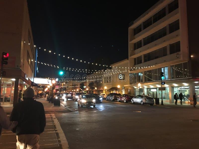 Savannah Georgia på natten arkivfoto
