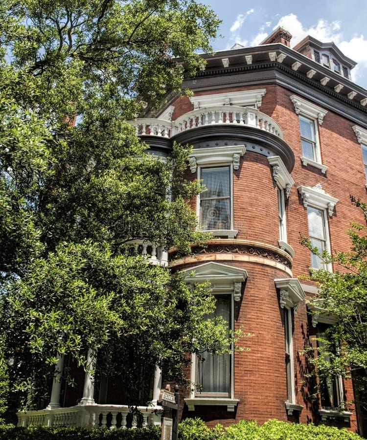 Savannah Georgia Red Brick House histórica fotografía de archivo libre de regalías