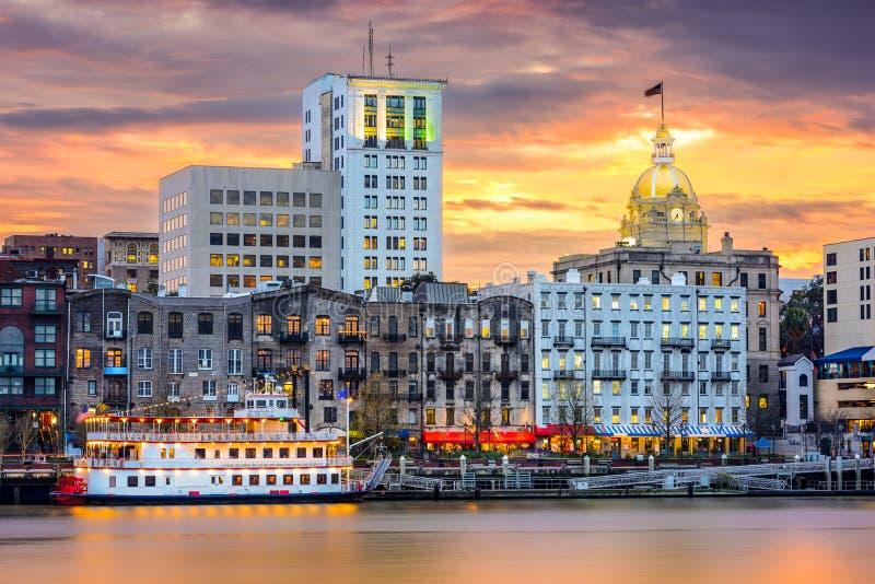 Savannah Georgia Skyline royalty free stock photos