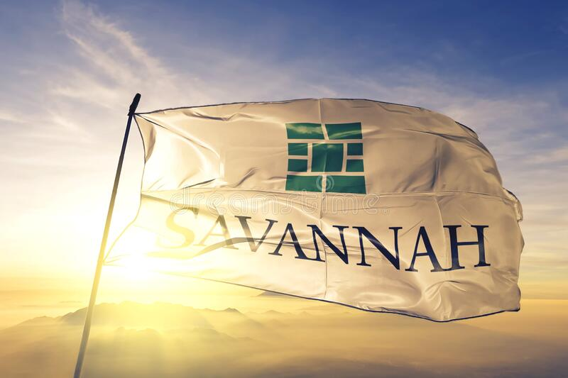 Savannah of Georgia of United States flag waving on the top. Savannah of Georgia of United States flag waving royalty free stock photos