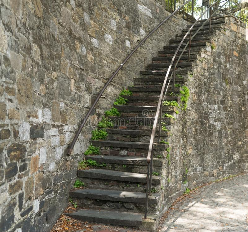 Savannah, Georgia / United States - June 25, 2018: Historic steps in Savannah add charm to the downtown and River Street areas. Horizontal image of old brick royalty free stock photo