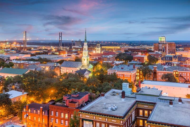 Savannah Georgia, USA horisont arkivbild