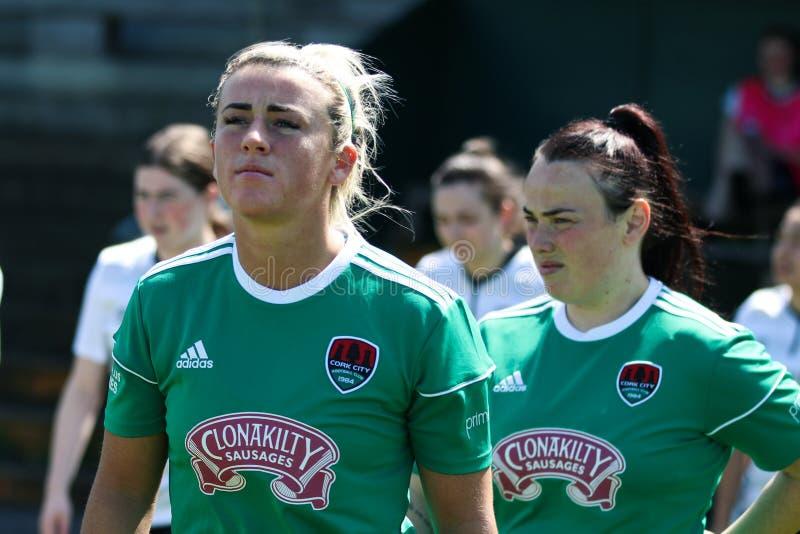 Savannah McCarthy på kvinnornas leken för nationella liga: Cork City FC vs Galway WFC arkivfoton