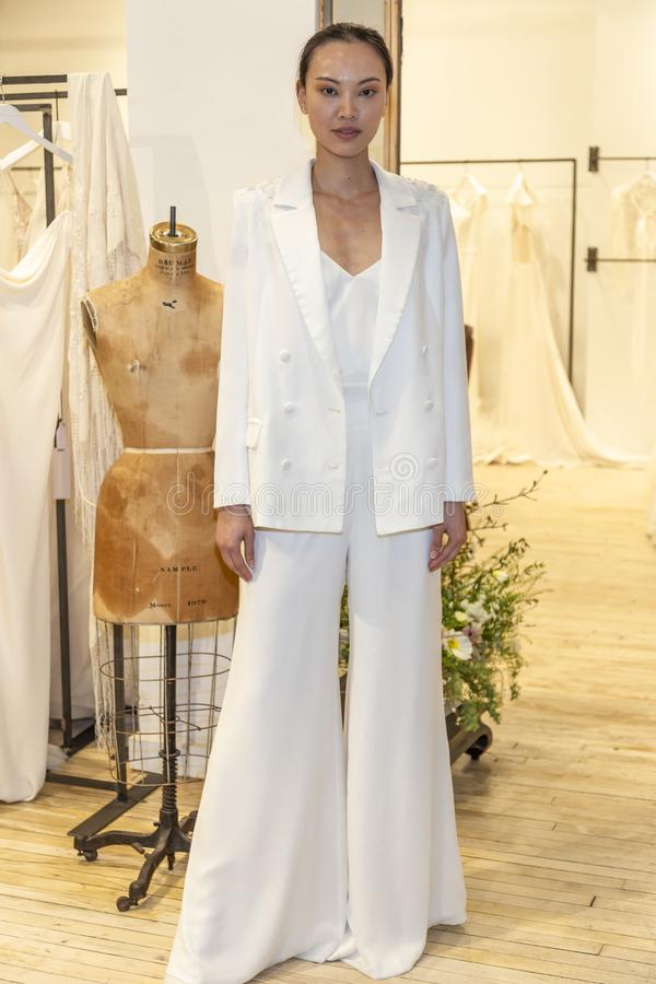 Savannah Miller 2020 Presentation. New York, NY, USA - April 13, 2019: A models shows out dress for Savannah Miller Spring 2020 Presentation during New York stock photo