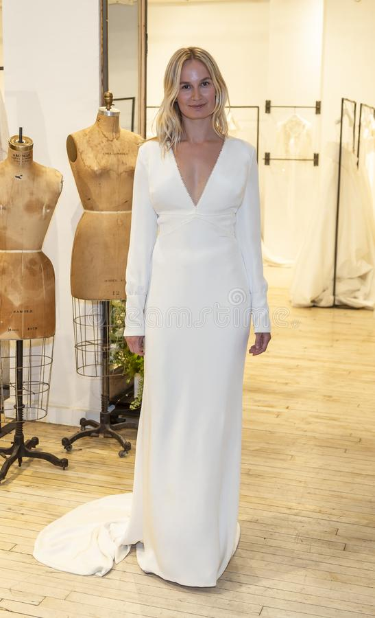 Savannah Miller 2020 Presentation. New York, NY, USA - April 13, 2019: A models shows out dress for Savannah Miller Spring 2020 Presentation during New York royalty free stock images