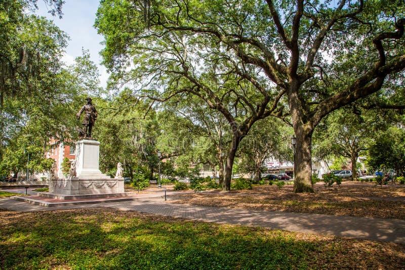 Savannah Park with Statue stock photos