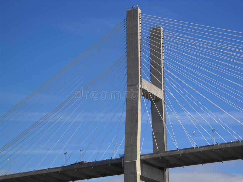 Savannah River Bridge. A structure to make Civil Engineers proud. The span crosses the Ocean going river traffic headed for the Port at Savannah Georgia royalty free stock image