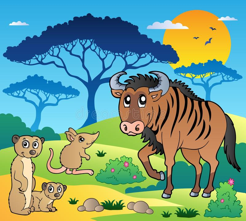 Savannah scenery with animals 3 royalty free illustration