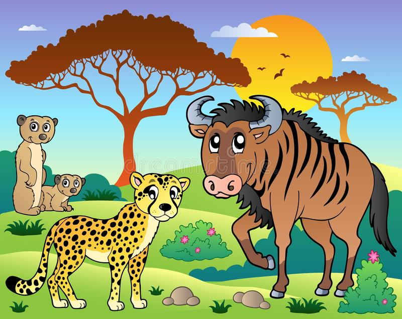 Savannah scenery with animals 5 vector illustration