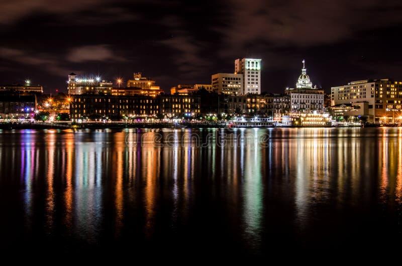 Savannah Skyline na noite imagens de stock