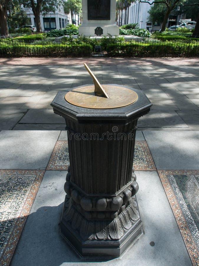 Savannah Sundial en Johnson Square fotografía de archivo libre de regalías