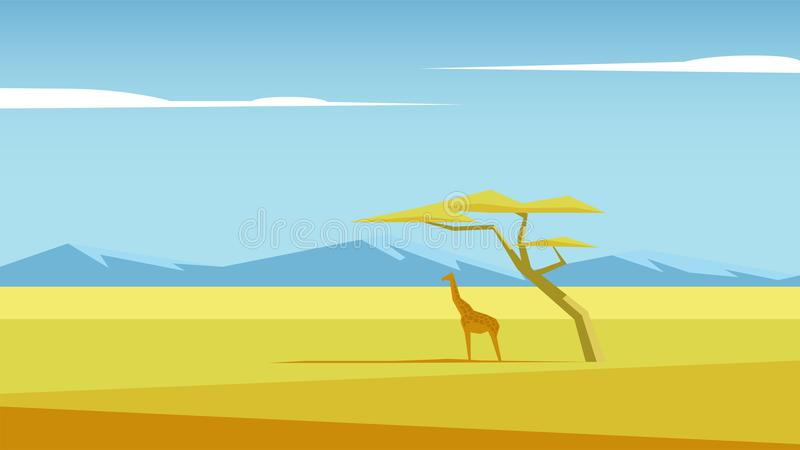 Savannah vector landscape. African vector landscape with a giraffe and a tree standing in the middle of savannah and mountains in the distance. Acacia and vector illustration