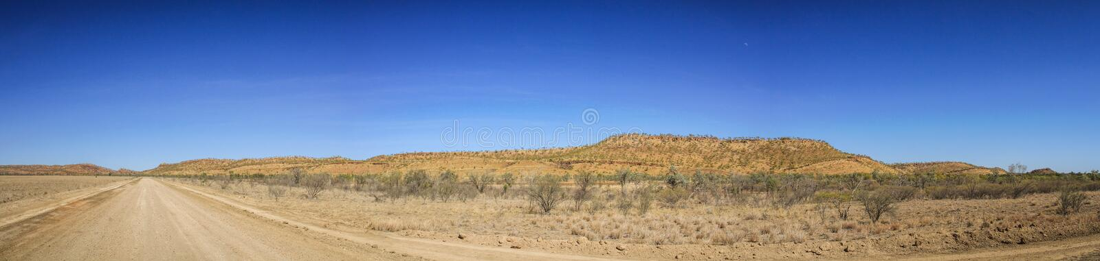 Panoramic view on the road savannah way, Cairns to Katherine, Queensland, Asutralia. The Savannah Way is Australia's Adventure Drive, linking royalty free stock images