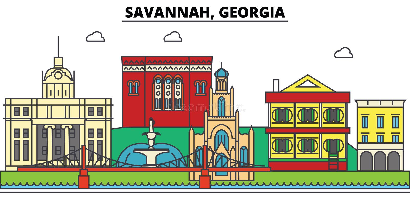 Savanne, Georgia Stadtskyline, Architektur, Gebäude, Straßen, Schattenbild, Landschaft, Panorama, Marksteine, Ikonen stock abbildung