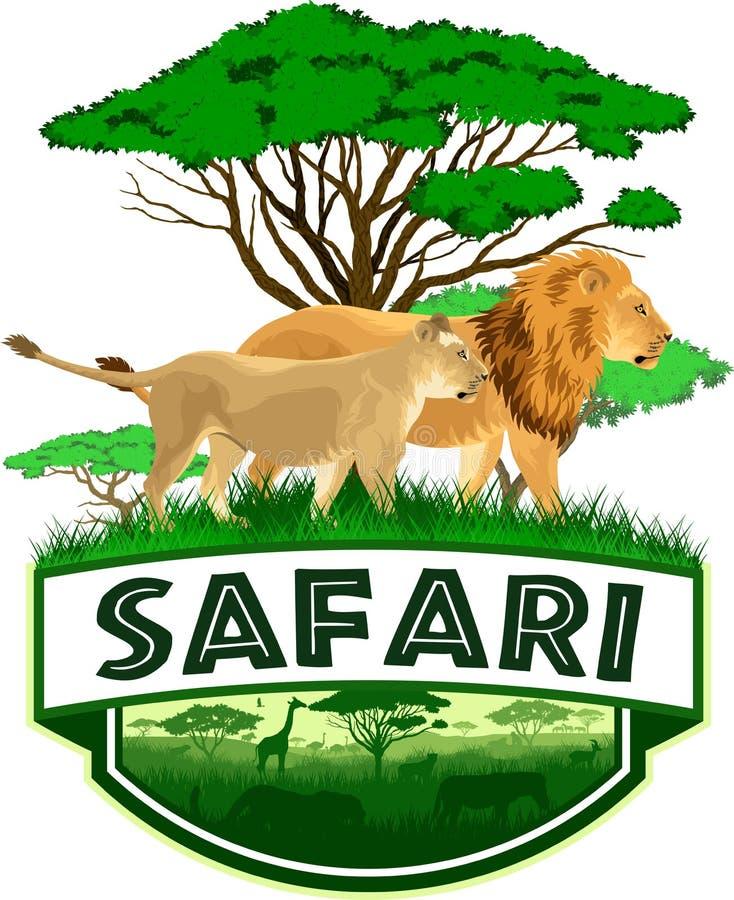 Savannen-Safariemblem des Vektors afrikanisches mit Löwen lizenzfreie abbildung