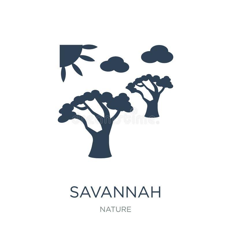 savannepictogram in in ontwerpstijl savannepictogram op witte achtergrond wordt geïsoleerd die eenvoudige en moderne vlakte van h stock illustratie