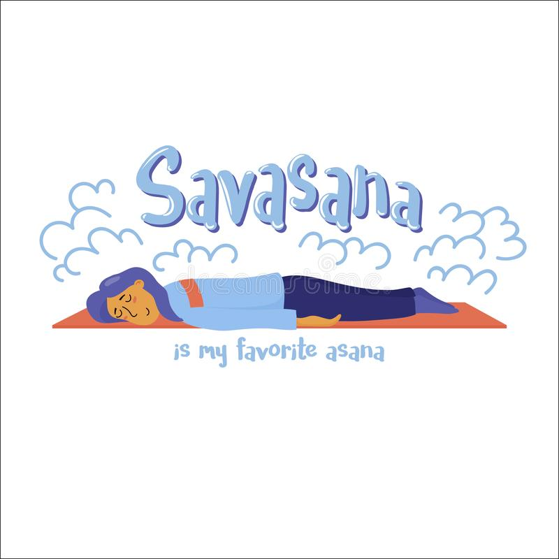 Savasana jest mój ulubionego asana joga śmiesznym plakatem ilustracja wektor