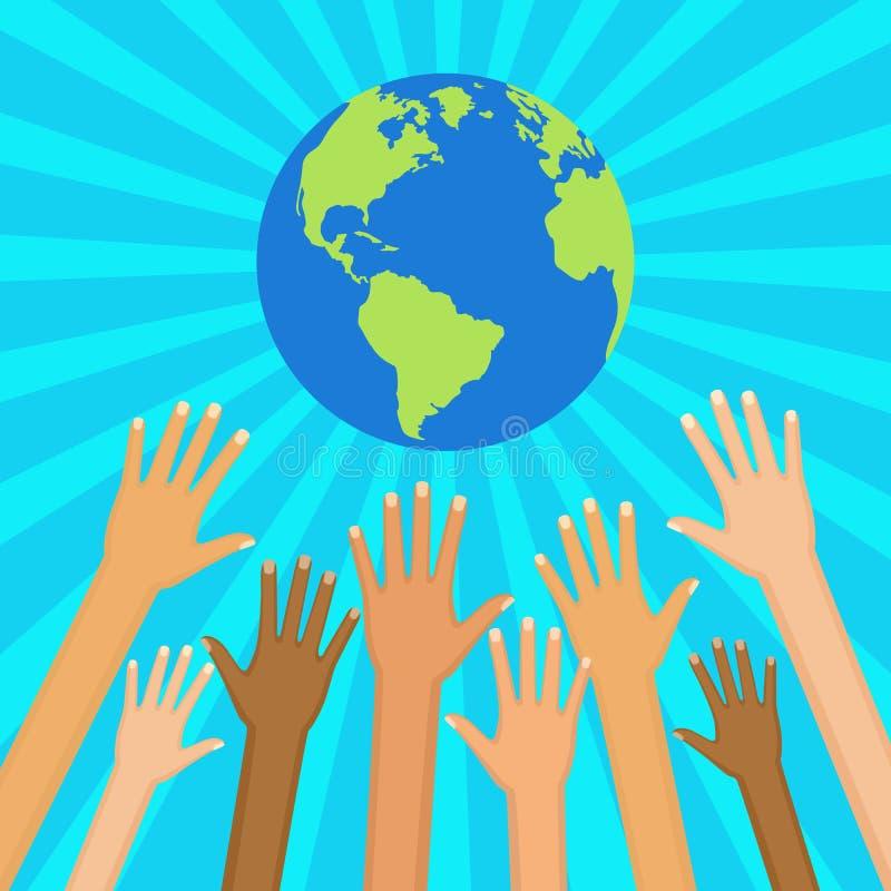 Save światową wektorową ilustrację Ekologiczny i humanitarny przeciw royalty ilustracja