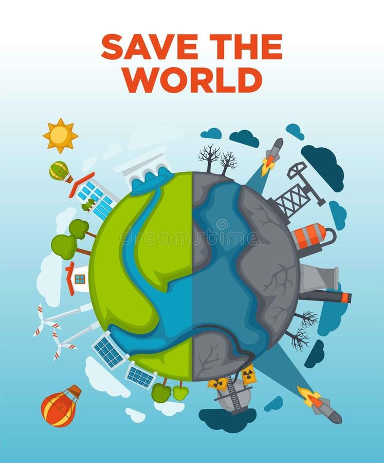 Save światowego agitacja plakat z ziemią dzielącą w połówce ilustracji