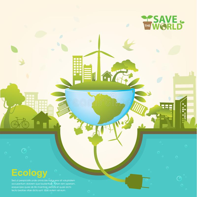 Save Światowego ekologii pojęcia wektor ilustracja wektor