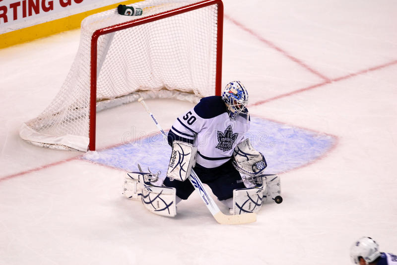 Save!. Mapleleafs goalie Jonas Gustavsson get his pad on the puck to make a save against the Boston Bruins stock photography