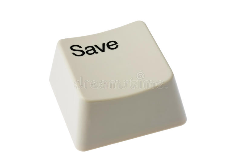 SAVE. White save button isolated on white stock image