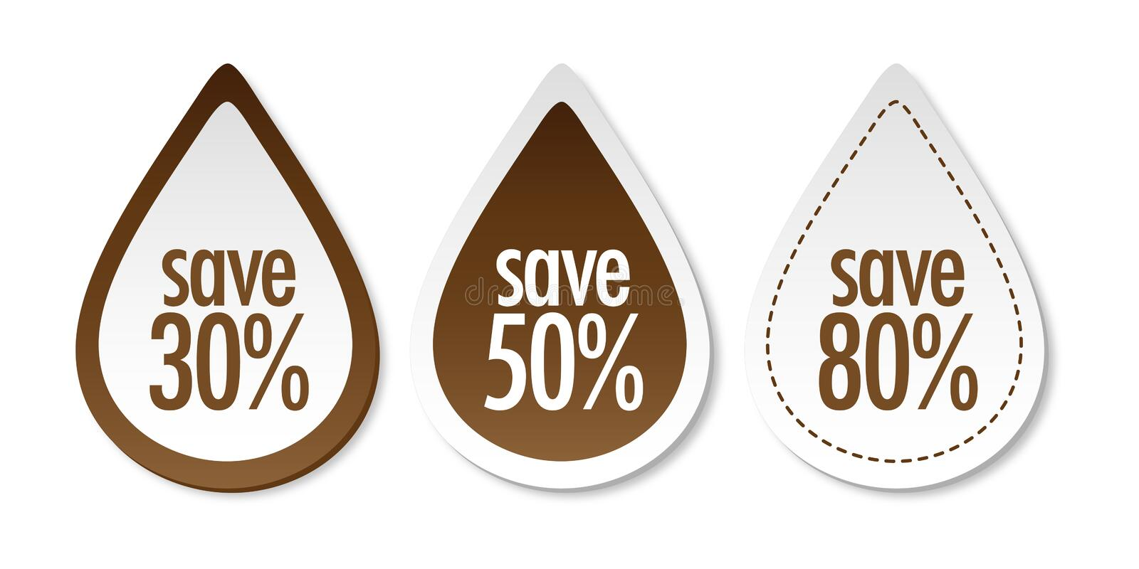 Save on brown stickers vector illustration