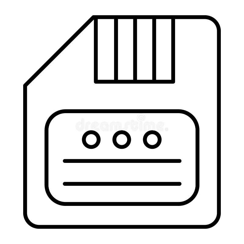 Save cienką kreskową ikonę Dyskietki wektorowa ilustracja odizolowywająca na bielu Opadającego dyska konturu stylu projekt, proje ilustracja wektor