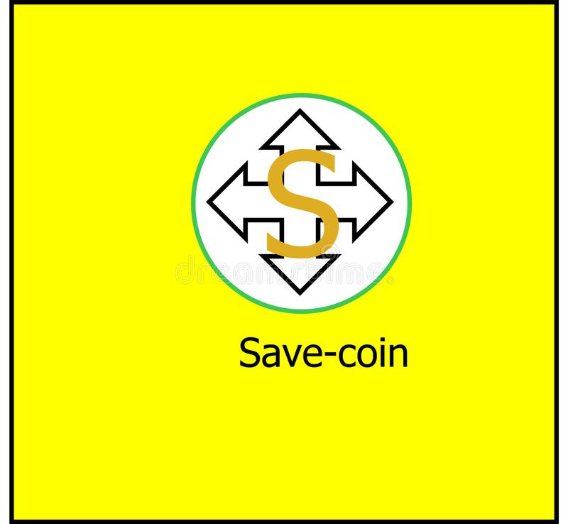 Save-coin cryptocurrency logo royalty free stock image