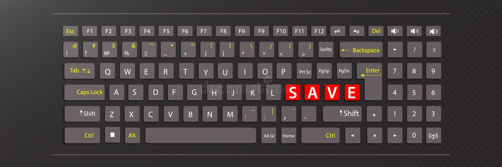Save concept. illustration keyboard. With red keys with the word save vector illustration