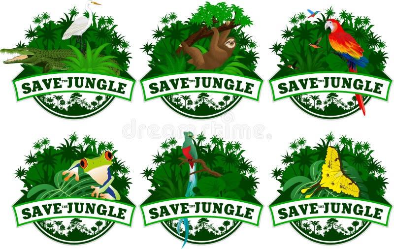 Save dżungla emblematy z zwierzętami ustawiającymi royalty ilustracja