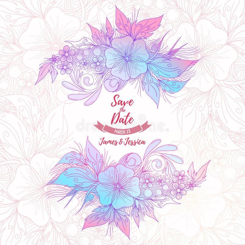 Save daktylową ślubną kwiecistą piękną dekoracyjną kartę, wektor ja royalty ilustracja