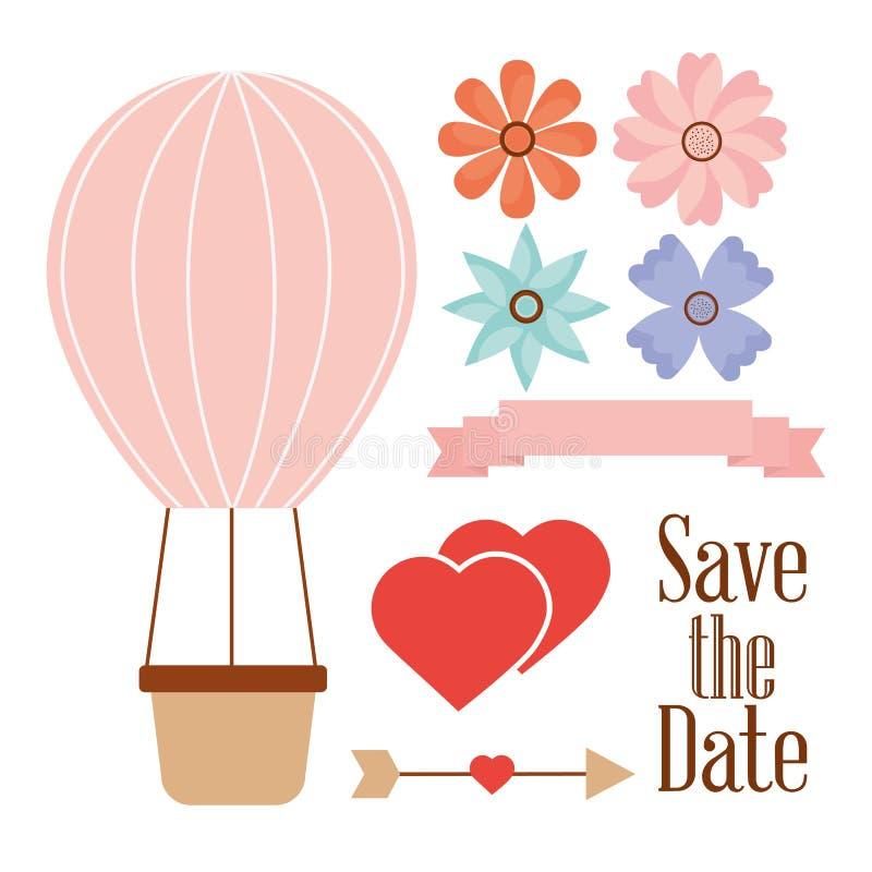 Save daktylową balonową koszykową serce strzała i kwiaty royalty ilustracja