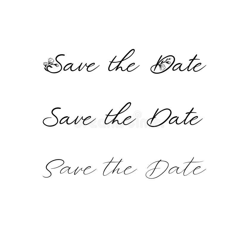 Save daktylową kaligrafię Ślubny zwrot dla zaproszeń projekty, karty, sztandary, fotografii narzuty Odizolowywający na bielu royalty ilustracja