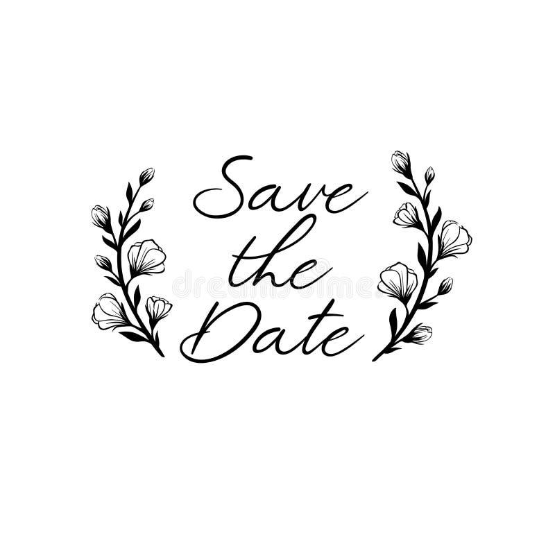 Save daktylową kaligrafię Ślubny zwrot dla zaproszeń projekty, karty, sztandary, fotografii narzuty Odizolowywający na bielu ilustracji