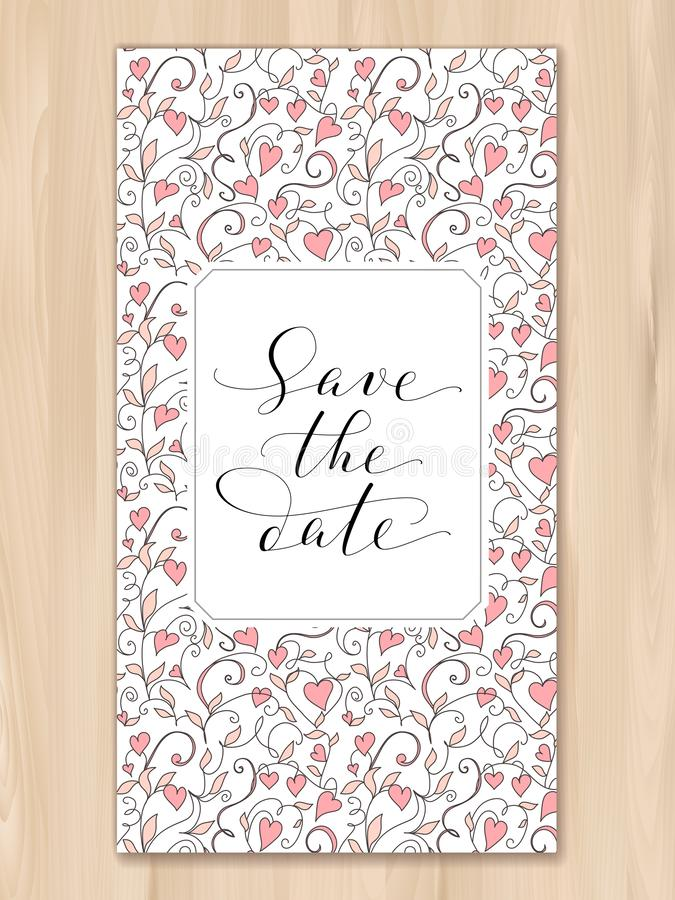 Save daktylową kartę z serca deseniowym tłem, zaproszenie szablon Ręka pisać obyczajowa kaligrafia fotografia stock