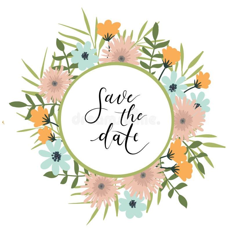 Save daktylową ręki literowania kartę, ślubny zaproszenie Kwiecisty wianek ilustracji