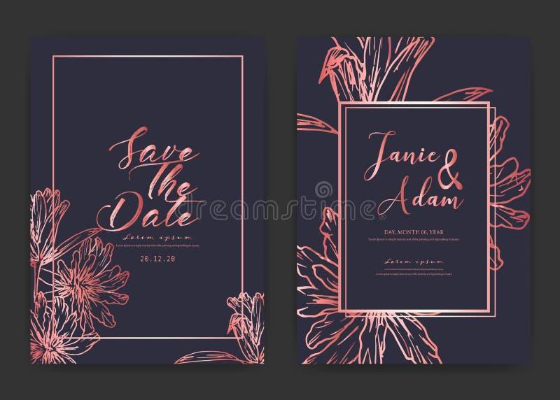 Save daktylow? ?lubn? kart? Ślubne zaproszenie karty z ręka rysujący botanicznym royalty ilustracja