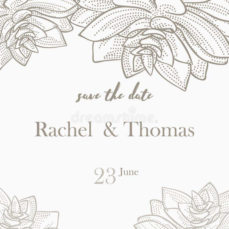Save daktylowego ślubnego zaproszenie karty szablon dekoruje z ręka rysującym wianku kwiatem w rocznika stylu również zwrócić cor royalty ilustracja