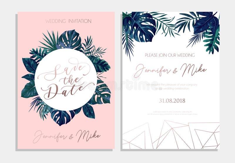 Save daktylowego tropikalnego zaproszenie projekt Nowożytni ślubnej karty wi ilustracja wektor