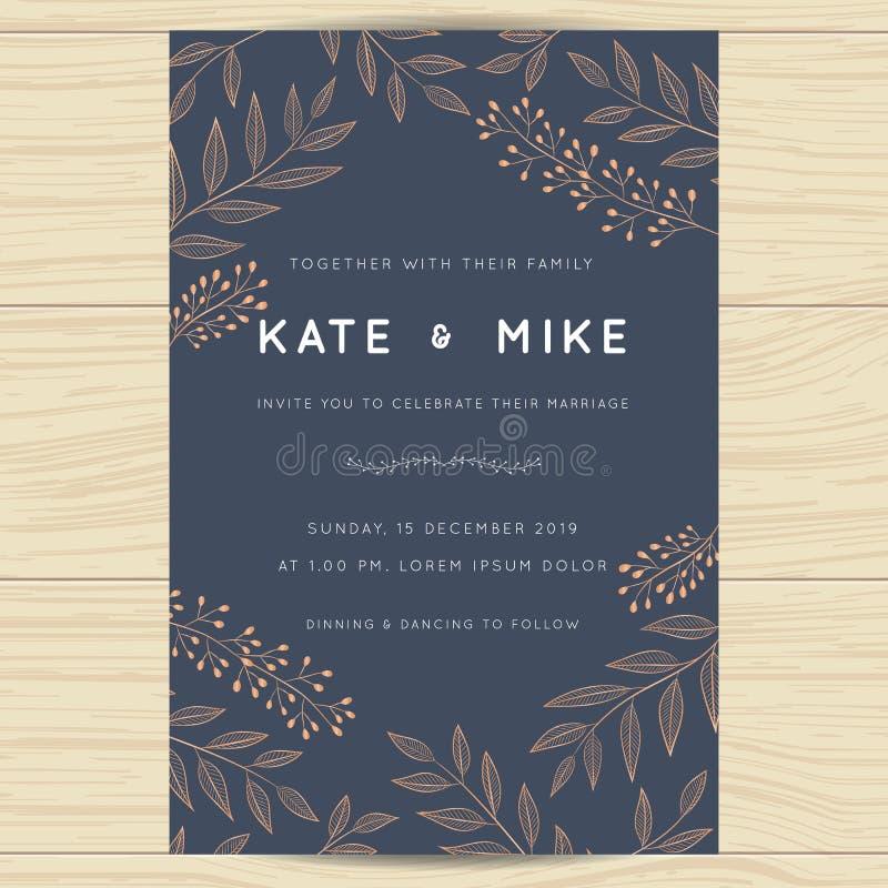 Save datę, ślubny zaproszenie karty szablon z miedzianego koloru kwiatu kwiecistym tłem ilustracja wektor