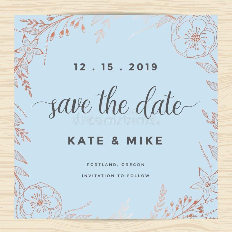 Save datę, ślubny zaproszenie karty szablon z miedzianego koloru kwiatu wiankiem Rocznika projekt ilustracja wektor