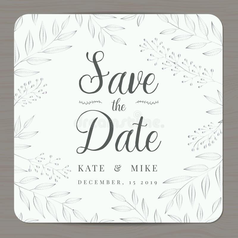 Save datę, ślubny zaproszenie karty szablon z srebnego koloru kwiatu kwiecistym tłem royalty ilustracja