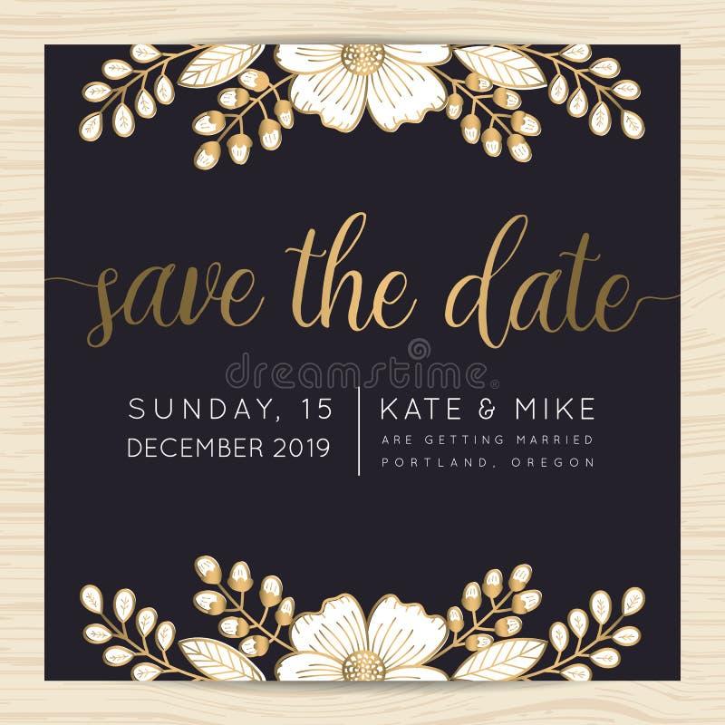 Save datę, ślubny zaproszenie karty szablon z złotego kwiatu kwiecistym tłem royalty ilustracja
